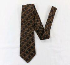 Prada brown Neck Tie Silk Black Diamond Pattern Made in Italy