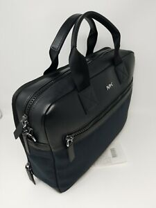 🌟🌷 Michael Kors Mens Warren Leather Briefcase In Black/Blue * AUTHENTIC*