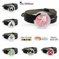 30mm Aromatherapy Essential Oil Locket Leather Bracelet Band Diffuser 10 pads