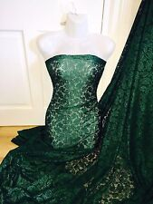 """1 MTR (NEW) FOREST GREEN BRIDAL LACE FABRIC...60"""" WIDE SPECIAL OFFER £5.99"""
