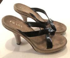 PRADA Patent leather criss cross platform sandals with suede heels size 39 8738cc5de3d