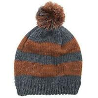 MUK LUKS Women's Pennies From Heaven Pom Beanie Winter Cap Hat Gray Copper NWT