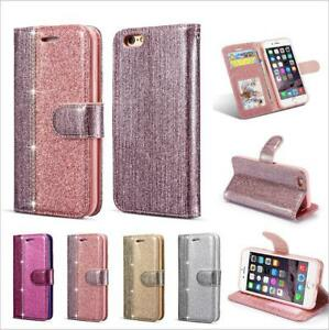 Glitter Sparkly Leather Flip Wallet Phone Case For iPhone 7 8 11 12Pro XR XS Max