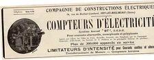 CIE CONSTRUCTIONS ELECTRIQUES COMPTEUR ISSY MOULINEAUX PUB 1914 FRENCH AD