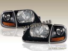 97 98 99 00 01 02 03 FORD F 150 F-150 BLACK HEADLIGHTS + CORNER LIGHTS BLACK