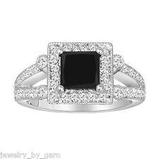 PRINCESS CUT ENHANCED FANCY BLACK DIAMOND ENGAGEMENT RING 14K WHITE GOLD 1.83CT