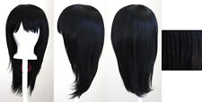 19'' Long Straight w/ Long Bangs Natural Black Cosplay Wig NEW