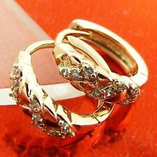 FSA006 GENUINE 18K ROSE GOLD G/F SOLID DIAMOND SIMULATED HUGGIE HOOP EARRINGS