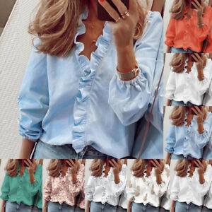 Womens Ruffles Shirt Ladies Buttons Long Sleeve Blouse Floral Loose Autumn Tops