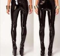 Hot Lady Glossy Vinyl PVC Skinny Leggings Punk Women Patent Leather Pencil Pant