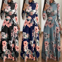 Womens Boho Floral Strappy Long Sleeve Dresses Lady Summer Holiday Evening Dress