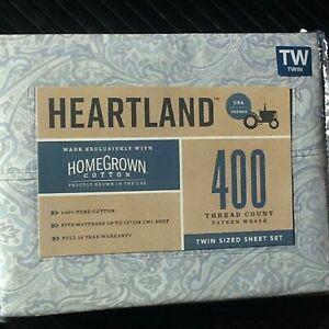BLUE PAISLEY 3-pc Heartland 400 TC 100% HomeGrown Cotton Sateen Twin Sheet Set
