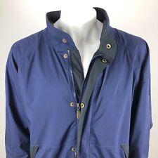 FootJoy DryJoys Mens XL Wind Rain Resistant Golf Jacket Full Zip Button Blue