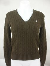 Polo Ralph Lauren $125 V-neck Cable Knit Sweater Jumper Cotton Pony New Brown S