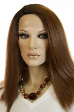 Dark brown roots light cool auburn mixed strawberry  Blonde Long Lace Front Wigs