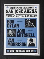 BOB DYLAN + JONI MITCHELL + VAN MORRISON 1998 SAN JOSE CARDBOARD CONCERT POSTER