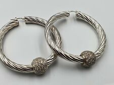 Large Solid Sterling 925 Silver Hoop Earrings With CZ Set Balls