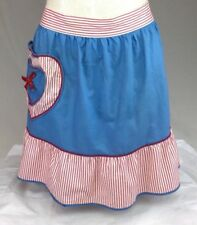 Half Apron Charming Hostess One Size Cotton Red White Blue Stripes Party Ruffles