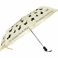 MOSCHINO Raining Cats & Dogs Print Umbrella cream compact automatic designer NWT