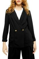 NWT Topshop Womens Sz 6 Black Slouch Geeta Blazer Double Breasted Long Sleeves