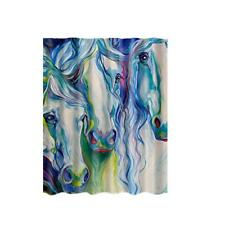 """Fabric Shower Curtain Abstract Horses Bathroom Drapes Divider Panel 71"""""""