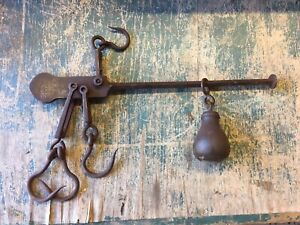 Vintage Scales Cast Iron Balance Beam Hanging Scale military Ex WD 1940 War