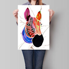 Zebra Poster Art African Animals Modern 1 of 3-part Set 16.6 x 23.4 in (A2)