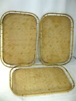 """Vintage Rattan Wicker Bed Tiki Bar Lap TV Set of 3 Serving Trays 19x13"""" *DEFECTS"""