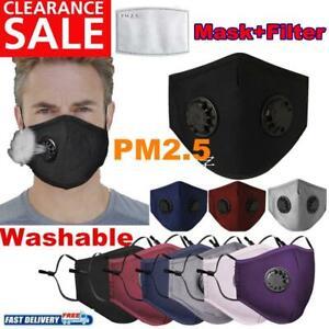 Wiederverwendbar Atemschutz Gesichtsmaske Mundschutz Staub Waschbar+ 2* Filter