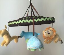 Amy Coe Zoology Baby Mobile Plays Brahm's Lullaby Lion Giraffe Hippo Turtle
