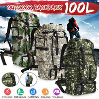 100L Military Tactical Backpack Outdoor Rucksack  Waterproof Shoulders   ☆√
