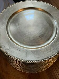 "Set of 20 Gold Plastic Charger Plates with Beaded Rim, 13"" inch Round Gold Color"