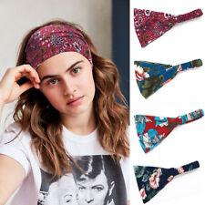 Women's Wide Cotton Stretch Headbands Headwraps Turban Bandage Yoga Sweatbands