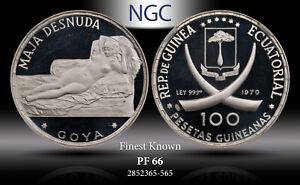 "1970 EQ. GUINEA SILVER 100 PESTEAS ""GOYA'S MAJA DESNUDA"" NGC PF66 FINEST KNOWN"