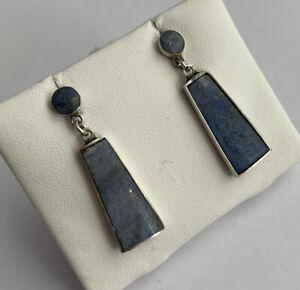 Vintage 925 Silver & Denim Lapis Lazuli Elongated Drop Dangle Earrings Pierced