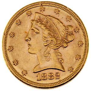 1882-S $5 Gold Liberty Half Eagle in BU Condition