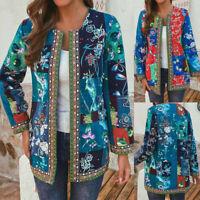 Womens Long Sleeve Oversize Windbreak Jacket Coat Cotton Ethnic Outwear Tops