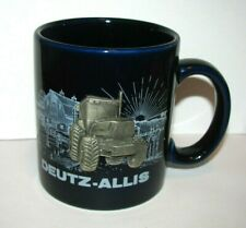 Deutz Allis 9190 Pewter Tractor Coffee Cup Mug with Farm Barn Scene Colbalt Blue