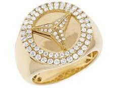 Men's 10K Yellow Gold Real Diamond Custom Mercedes Pinky Designer Ring 1 CT 20MM