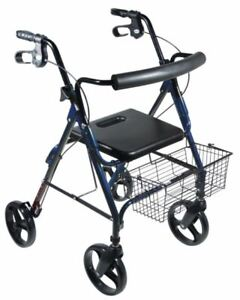 """Drive Medical 750NB D-Lite Aluminum Rollator 8"""" Casters With Basket And Backrest"""
