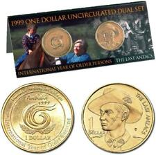 1999 $1 UNCIRCULATED DUAL COIN SET..OLDER PERSONS & THE LAST ANZACS.