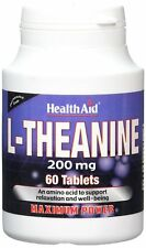 x3 HealthAid 200mg L-Theanine 60 Vegan Tablets-Relaxation-Reduce Anxiety Rrp £36