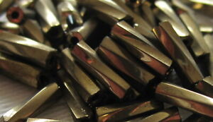 A 25g Bag of Brass Coloured Twisted 6mm Bugle Beads - BOGOF