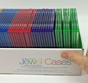 48 New Memorex Single Slim Multi Color CD DVD Jewel Case Box