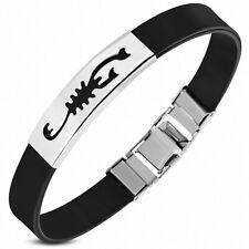 Bracelet homme caoutchouc noir plaque acier scorpion zodiaque