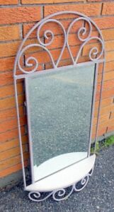 Carolina Mirror Co Metal Mirror with Shelf Mauve Light Purple