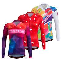 Women's Long Sleeve Cycling Jerseys Reflective Ladies Bicycle Bike Jersey Shirts