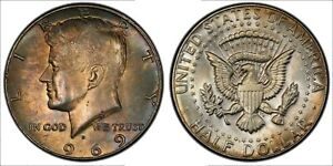 1969-D KENNEDY HALF DOLLAR SILVER NATURAL TONED COLORING UNC BU SELECT (MR)