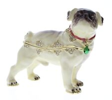 Jeweled Puppy Pug Dog Ciel Collectible Hinged Trinket Box Austrian Crystals