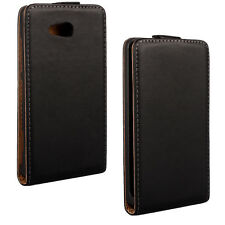Black Genuine Real Leather Classic Slim Flip Case Cover Skin for Nokia Lumia 820